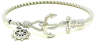 Uniklook Nautical Silver Anchor Twisted Cable Helm Crystal Charm Bracelet Stackable Fashion Nautical Jewelry