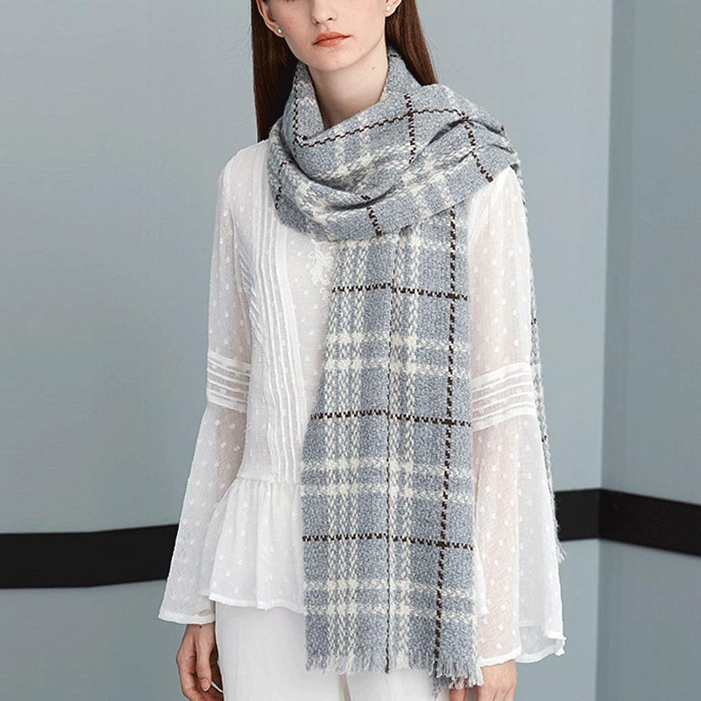 CHX Scarf Soft Woman Lattice Thicken Keep Warm Shawl Large 190cm×35cm V (color   C)
