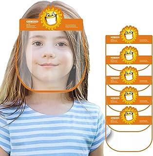 Padaleks 5Pcs Kids Face Bandanas Reusable Full Face Transparent Cartoon Visor Anti-saliva Anti-fog Eyes Shield