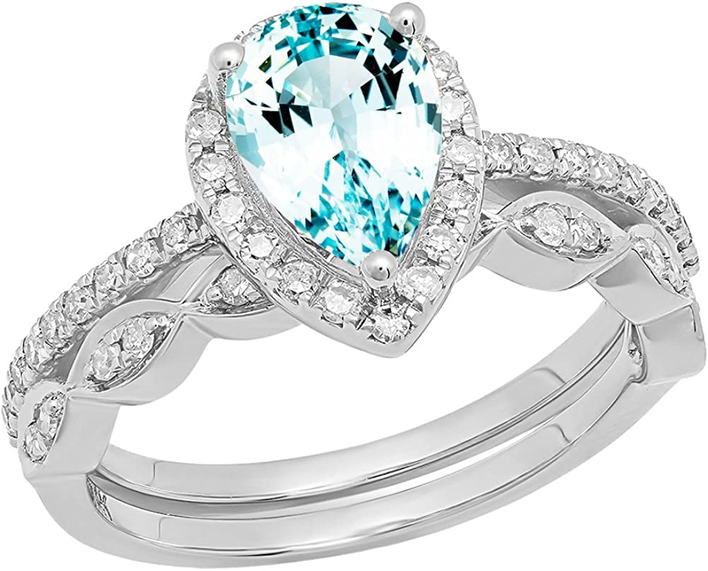Dazzlingrock Collection 14K 9X6 MM Pear Gemstone & Round Diamond Ladies Engagement Ring With Matching Band Set, White Gold
