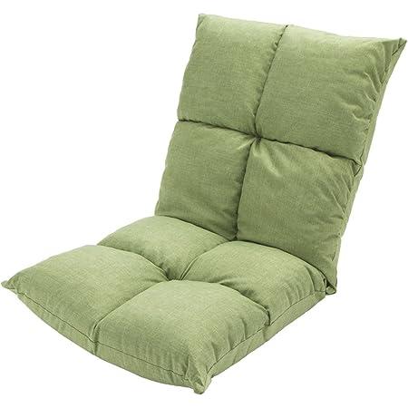 アイリスプラザ 座椅子 リクライニング 14段階 低反発 モコモコ さらさら ファブリック生地 グリーン FC-540S