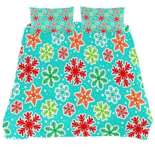 JlOn Microfiber Duvet Cover Set Zipper Closure Snowflake Blue Winter 2pcs Bedding Set Full Soft and Breathable
