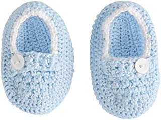 Baby Boys Crochet Booties, Blue, 0-6 Months