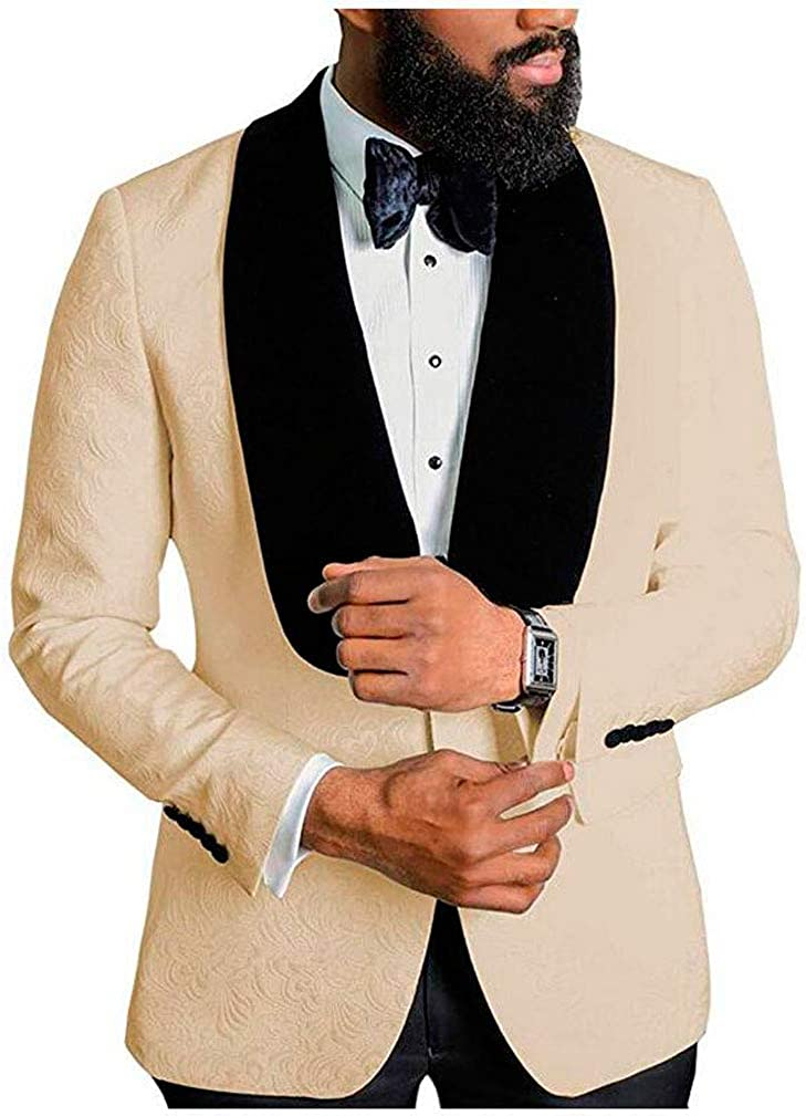 Men's Shawl Lapel Champagne Floral Blazer One Button Regular Fit Prom Party Jacket Dinner Coat Champagne 42/36
