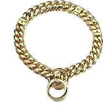 Abaxaca Gold Dog Collar Adjustable Stianless Steel 15mm 18K Big Dog Cuban Link Collar Necklace Chain S/M/L