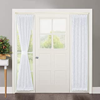 NICETOWN Sidelight French Door Panel - Linen Textured Look Translucent Privacy Door Side Light Sheer Front Door Curtain Including Tieback, 30 inches Wide x 72 inches Long, White
