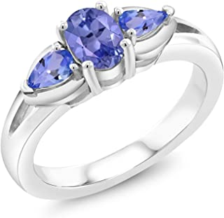 Gem Stone King 925 Sterling Silver Blue Tanzanite 3-Stone Women Engagement Ring (1.15 Ct Oval, Available in size 5, 6, 7, ...