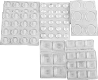 Clear Adhesive Bumper Pads 106-PC Combo Pack Noise Dampening Transparent Rubber Feet Self Stick Furniture Bumpers Buffer 3 Shapes (Round Spherical Square) for Cabinet Door Drawer Glass Tops STAR SMART