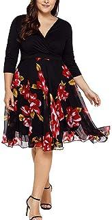 Dubocu Women's Midi Dresses V Neck Wrap Chiffon Floral Long Sleeve Prom Dress