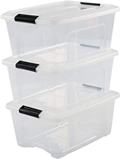 Iris Ohyama, Lot de 3 Boîtes de Rangement Empilables - New Top Box NTB-15 - Plastique, Transparent, 15 L, 39,5 x 29 x 18,6 cm