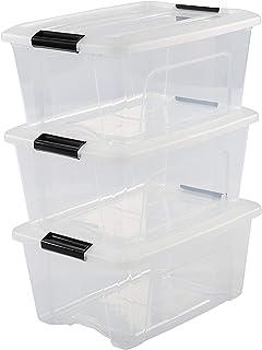Iris Ohyama, Lot de 3 Boîtes de Rangement Empilables - New Top Box NTB-15 - Plastique, Transparent, 15 L, 39,5 x 29 x 18,6 cm