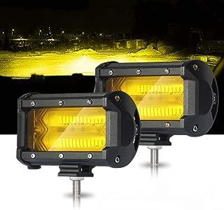 Led Light Bar 4D 5inch 72w Ripple 24 Led Pods Offroad Fog Amber Work Driving Lights Samlighting For Trucks Pickup Jeep SUV ATV UTV Boat, 2pcs 1 years Warranty