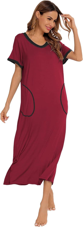 SWOMOG Women's Nightshirt Short Sleeve Nightgown V Neck Sleepwear Full Length Night Dress with Pockets Loungewear S-XXL
