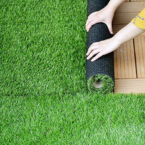 OSJ 人工芝 リアル ロール 芝生マット芝丈20mm 35mm 高密度 透水穴つき4色立体感 色落ちにくい 抜けにくい U字ピン 復元性 芝庭 人工芝生 ガーデニング アウトドア (1×10m 芝丈35mm, 青緑)