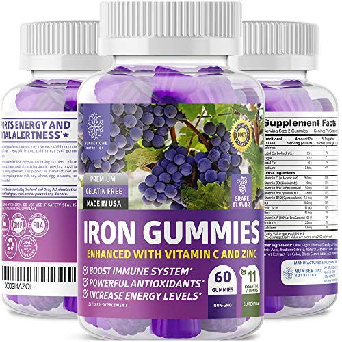 N1N Premium Iron Gummies with Multivitamins for Kids and Adults [11 Powerful Ingredients] All Natural Iron Supplement to Boost Energy,Immunity & Brain Functions Improves Energy, 60 Gummies