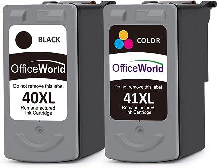 OfficeWorld PG-40XL CL-41XL Remanufacturado Canon PG-40 CL-41 Cartuchos de tinta Compatible con Canon PIXMA iP1200 iP1600 iP2200 MP140 MP150 MP160 MP170 MP180 MP210 MP220 MP450 MP450 MP460 MX300