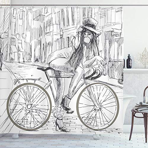 Ambesonne Fahrrad Dekor Duschvorhang Set, Sexy Outrageous Young Lady Kaugummi auf ihrem Bike in der Straße, skizzische Illustration, Stoff Badezimmer Dekor mit Haken, 190 cm lang, Grau Weiß