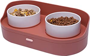 Elevated Dog Cat Food Bowls with Storage Container, Raised Pet Water and Food Bowl Puppy Dish Set No Spill for Cats and Small Medium Dogs