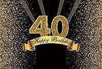 Qinunipotoビニール2.7mx1.8mアートスタジオお誕生日おめでとう写真の背景ゴールデンポイントステップ繰り返し男性のための女性40歳の誕生日の背景バナーフォトスタジオ小道具壁紙