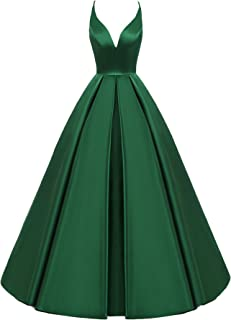 Women's Backless Deep V Neck Simple Long A Line Prom Gowns Evening Dress