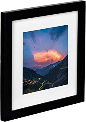 Tiny Mighty Frames - Wood Square Photo Frame, 11x11 (8x8 Matted) (1, Black)