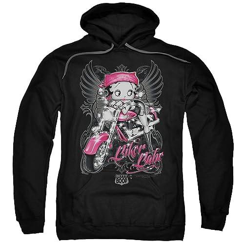 2Bhip Betty Boop Cartoon Pink Motorcycle Biker Babe Adult Pull-Over Hoodie