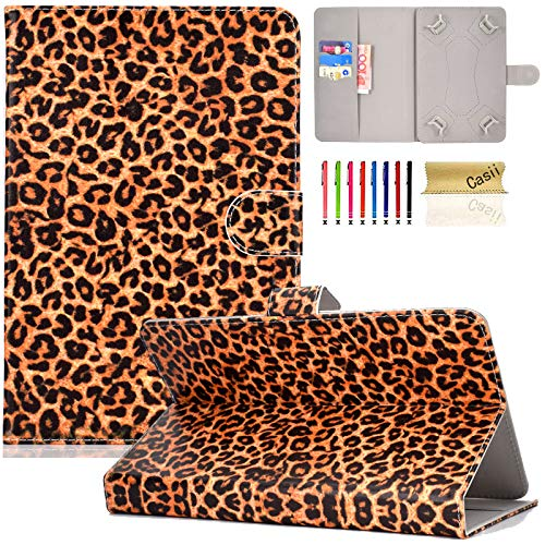 Universal Case for 7 inch Tablet, Casii PU Leather Magnetic Cover with Cards Slots for 6.5-7.5 inch Samsung Galaxy,Amazon Fire 7,Paperwhite,DX7,Nexus,Dragon Touch,KOBO,Huawei,RCA, Yellow Leopard
