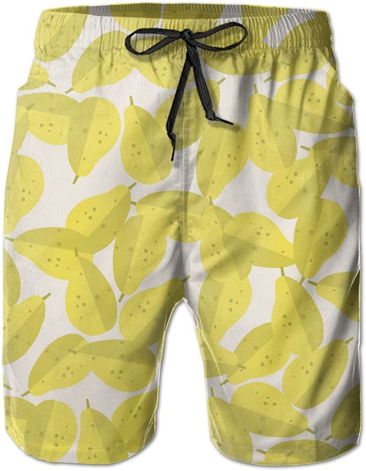 Beach Pants Yellow Pear Fruits Men's Workout Gym Short Shorts Pockets Sweatpants Waist Tension Design