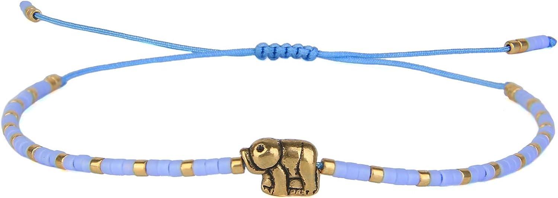 KELITCH New Lucky Elephant Friendship Bracelets Miyuki Beads Strands Bracelets Adjustable Stack Cuff Bracelets