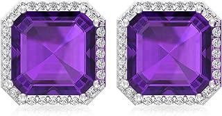 4.2 Ct Asscher Shape Amethyst Stud Earring, Bridesmaid Statement Earring, IGI Certified Diamond Bridal Wedding Earring, IJ-SI Diamond Vintage Earring, Screw Back
