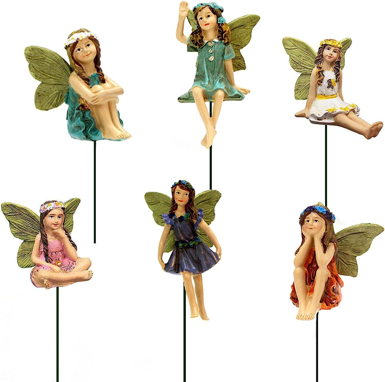 SisBroo Fairy Garden Accessories Outdoor Indoor, 6pcs Miniature Fairies Figurines for Pot Plants and Mini Garden Lawn Decorations