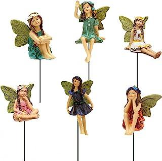 SisBroo Fairy Garden Accessories Outdoor Indoor, 6pcs Miniature Fairies Figurines for Pot Plants and Mini Garden Lawn Deco...