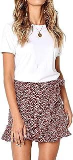 Women's Summer High Waist Ruffle Skirt Polka Dot Bohemian A Line Beach Mini Skirt Wrap Tie Elastic Waist Mini Short Skirt