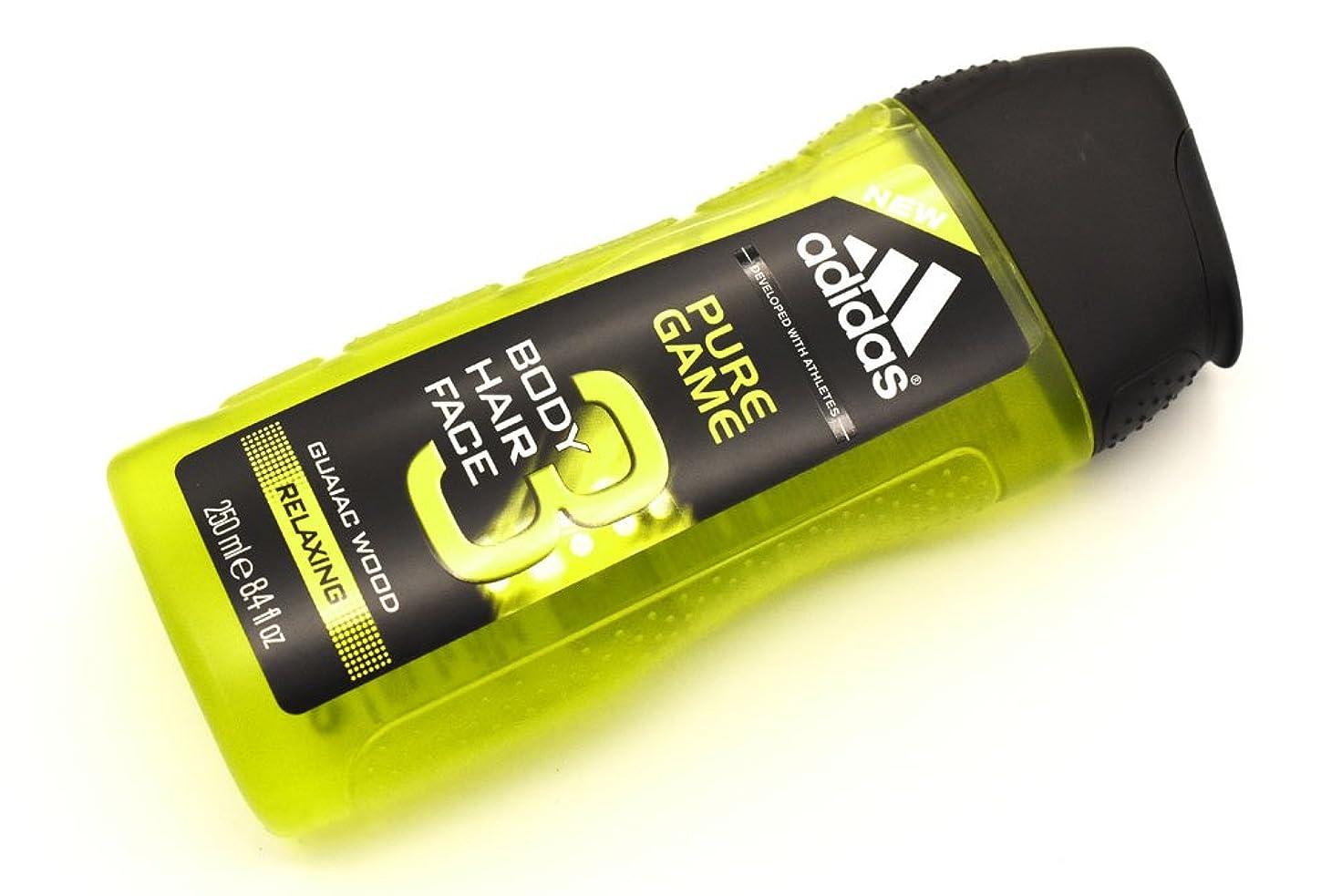排泄するに対してファウルadidas PURE GAME 3in1 shower gel アディダス ボディーソープ ピュア?ゲーム ボディー&ヘアー&フェイス 3in1 シャワージェル 250ml クリアケース 日本未発売 並行輸入