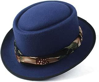 2019 Mens Womens Hats Unisex Men Women Flat Top Hat Autumn Fashion Pop with Ribbon Porkpie Church Fascinator Hat Flat Casual Top Hat Soft Size 56-58CM Breathable (Color : Blue, Size : 58)