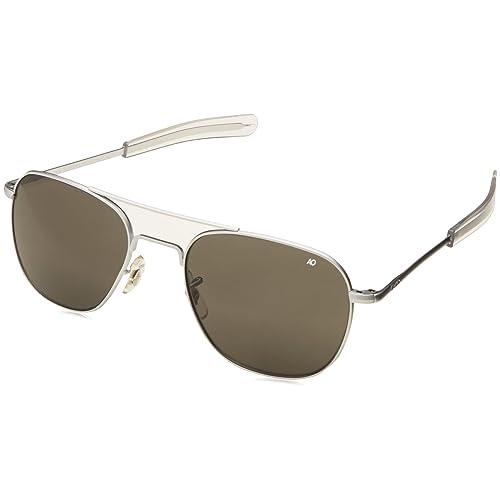 AO Eyewear Original Pilot Sunglasses 55mm Matte Chrome Frames with Bayonet  Temples and True Color Grey 76598d4a1