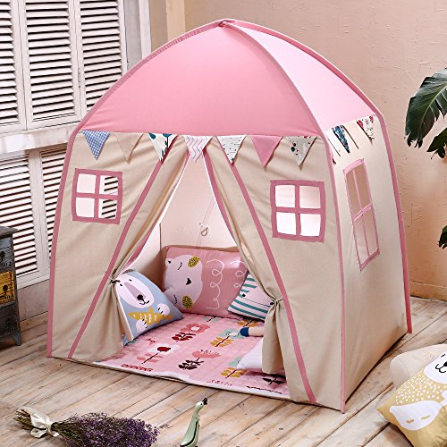 Love Tree Teepee Tent for Kids Play Tent with Mat Children Fort Canvas Canopy for Indoor Outdoor with Carry Bag Portable Playhouse in Pink for Girls