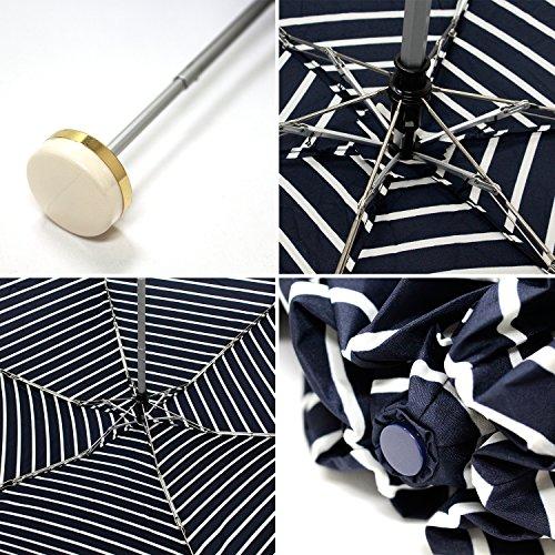 ワールドパーティー(Wpc.)雨傘折りたたみ傘ネイビー50cmレディースジッパーケースタイプハート刺繍ボーダーミニ302-126NV