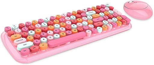 Wireless Keyboard and Mouse Combo, 2.4G Retro Typewriter Wireless Keyboard with Number Pad and Optical Ambidextrous Wirele...