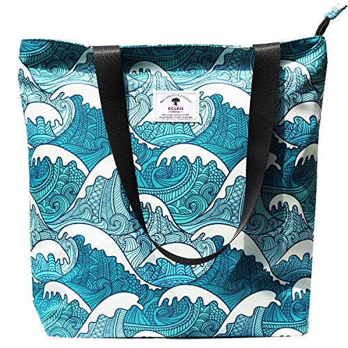 Original Floral Tote Bag Shoulder Bag for Gym Hiking Picnic Travel Beach ([L] Floral Leaf)