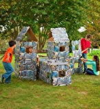 Magic Cabin HearthSong 16-Piece Castle Build-A-Fort Kit Indoor Building Kit with Sturdy 22' Cardboard Stone Castle Panels and Hook and Loop Connectors