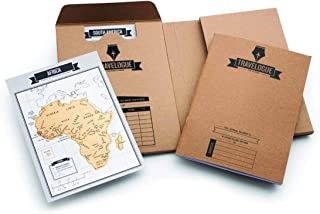 Beauenty Scratch Off World Map Journal Travel Diary Travelogue - Contains 8 Mini Scratch Poster with Countries Cities and ...