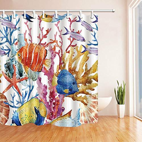 oooooo Color Coral y Peces Tropicales Cortina de baño Decoración de baño y 12 Ganchos