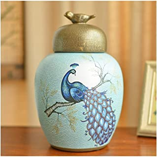 Vases European American Country Ceramic Storage Tank Home Soft Decoration Living Room TV Cabinet Porch Wine Cabinet Decoration with Cover Home Accessories (Color : C, Size : 1337cm)