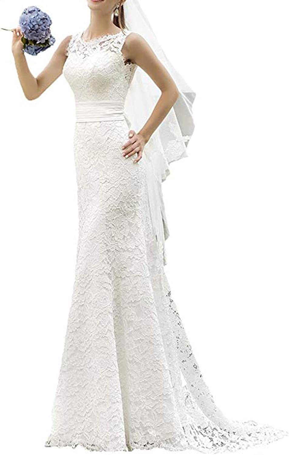 Ri Yun Women's Elegant Lace Mermaid Wedding Dresses for Bride 2019 Backless Beach Bridal Gowns