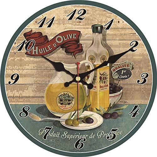Reloj de Pared Reloj de Pared Vintage Diseño de Aceite de Oliva Gran Reloj Silencioso para Sala de Estar Shabby Chic Kitchen Home