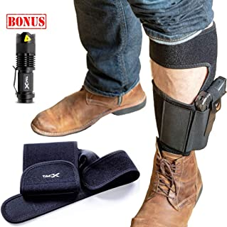 TacX Pro Gear Ankle Holster for Concealed Carry Pistol Bundle | Bonus LED TacLight | Sewn-in Magazine Pouch | Glock 42,43,26,19, S&W M&P Shield,Bodyguard .380.38,Ruger LCP,LC9,Sig Sauer