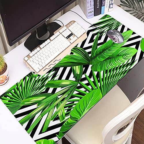 FAQIMEI Alfombrilla Gaming para PC Imprimir Verano Exótica Selva Planta con Hojas Palmeras Tropicales Máxima Precisión con Base de Caucho Natural, Máxima Comodidad