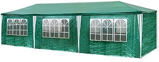HG Carpa Pabellón de cerveza 3 x 9 m tienda de campaña de cúpula polietileno Acero tubos con 6 laterales y 2 entradas resistente al agua Incluye 6 paredes laterales desmontables , color verde