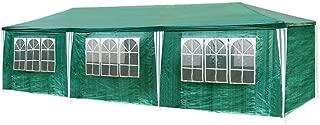 Hengda Pavillons mit 8 Seitenteilen Gartenpavillon 3 x 9 m Zelt Partyzelt für Festival oder Feier Gartenzelt Grün